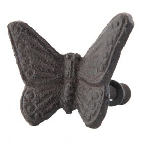 Dark Brown Vintage Style Iron Butterfly Doorknob Drawer Knob Cabinet Pull 3x5cm